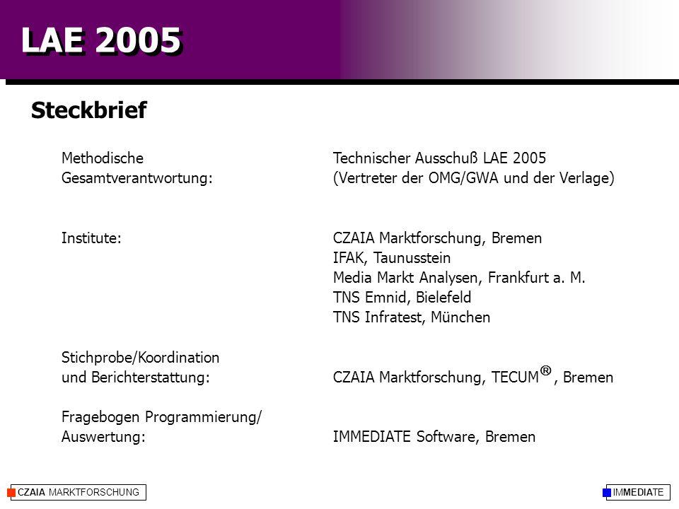 IMMEDIATECZAIA MARKTFORSCHUNG LAE 2005 Steckbrief Methodische Technischer Ausschuß LAE 2005 Gesamtverantwortung: (Vertreter der OMG/GWA und der Verlage) Institute:CZAIA Marktforschung, Bremen IFAK, Taunusstein Media Markt Analysen, Frankfurt a.