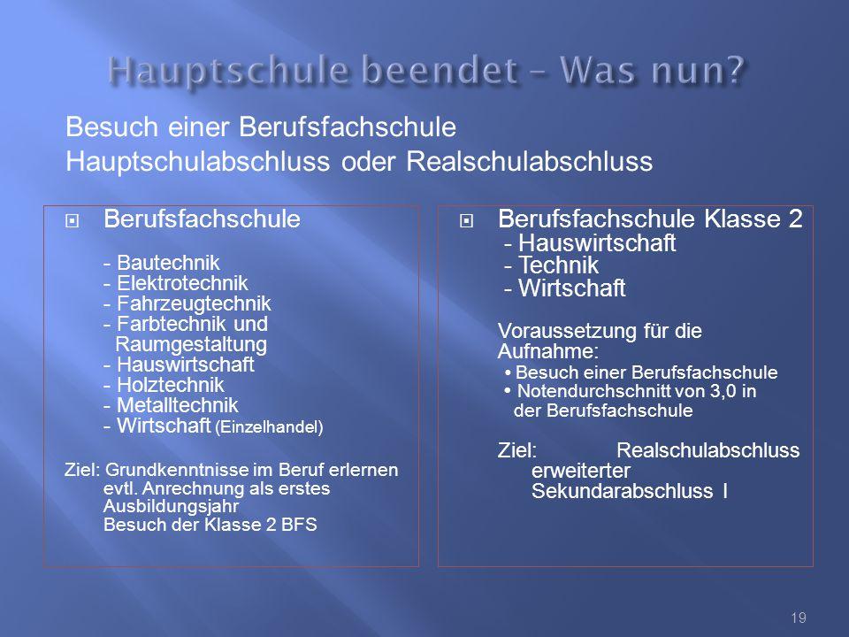  Berufsfachschule - Bautechnik - Elektrotechnik - Fahrzeugtechnik - Farbtechnik und Raumgestaltung - Hauswirtschaft - Holztechnik - Metalltechnik - Wirtschaft (Einzelhandel) Ziel: Grundkenntnisse im Beruf erlernen evtl.