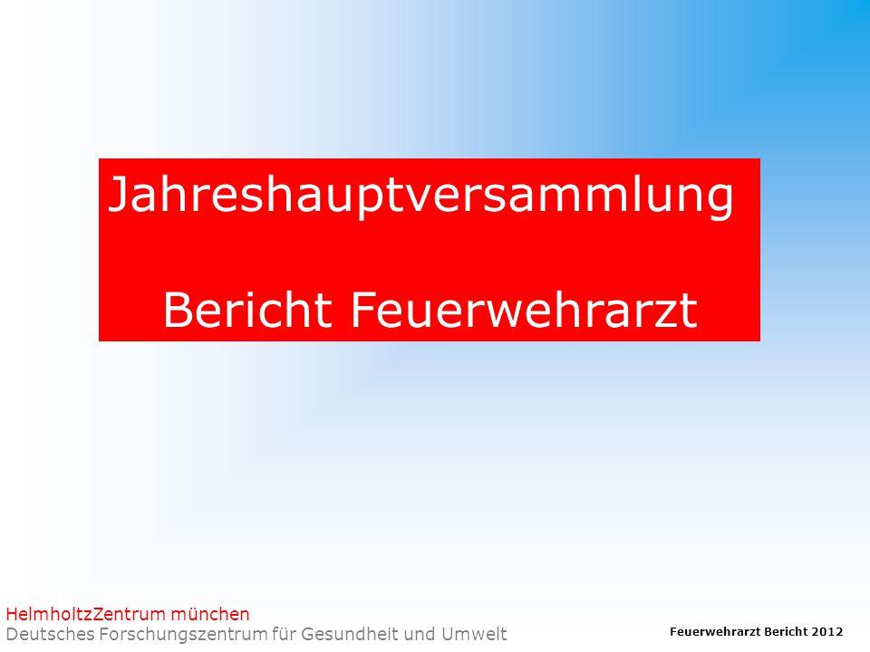 Feuerwehrarzt Bericht 2012 HelmholtzZentrum münchen Deutsches Forschungszentrum für Gesundheit und Umwelt Jahreshauptversammlung Bericht Feuerwehrarzt