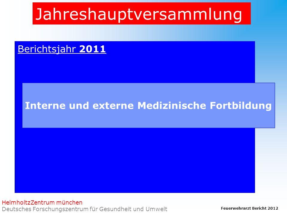 Feuerwehrarzt Bericht 2012 HelmholtzZentrum münchen Deutsches Forschungszentrum für Gesundheit und Umwelt Jahreshauptversammlung Berichtsjahr 2011 Interne und externe Medizinische Fortbildung