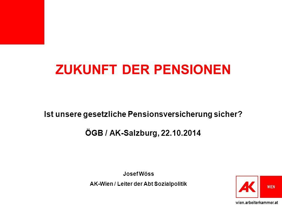 wien.arbeiterkammer.at ZUKUNFT DER PENSIONEN Ist unsere gesetzliche Pensionsversicherung sicher? ÖGB / AK-Salzburg, 22.10.2014 Josef Wöss AK-Wien / Le