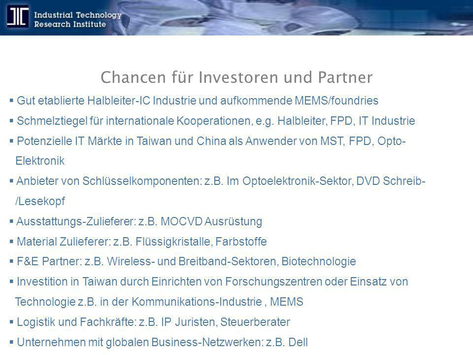 Chancen für Investoren und Partner  Gut etablierte Halbleiter-IC Industrie und aufkommende MEMS/foundries  Schmelztiegel für internationale Kooperat