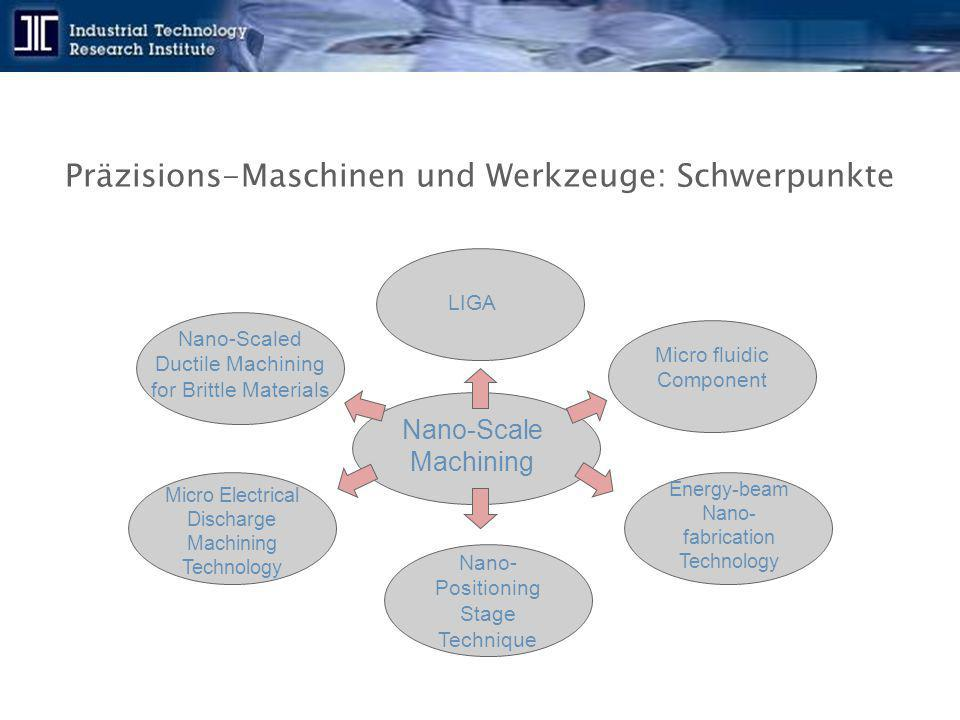 Präzisions-Maschinen und Werkzeuge: Schwerpunkte Nano-Scaled Ductile Machining for Brittle Materials Micro Electrical Discharge Machining Technology Nano- Positioning Stage Technique Micro fluidic Component LIGA Nano-Scale Machining Energy-beam Nano- fabrication Technology