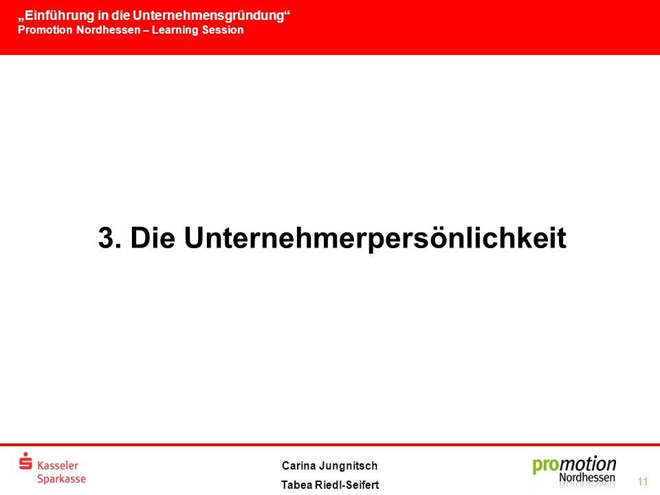 """""""Einführung in die Unternehmensgründung Promotion Nordhessen – Learning Session 11 Carina Jungnitsch Tabea Riedl-Seifert 3."""