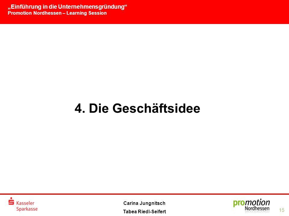 """""""Einführung in die Unternehmensgründung Promotion Nordhessen – Learning Session 15 Carina Jungnitsch Tabea Riedl-Seifert 4."""