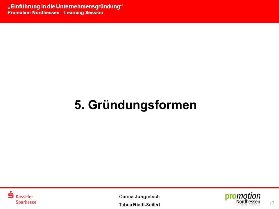 """""""Einführung in die Unternehmensgründung Promotion Nordhessen – Learning Session 17 Carina Jungnitsch Tabea Riedl-Seifert 5."""