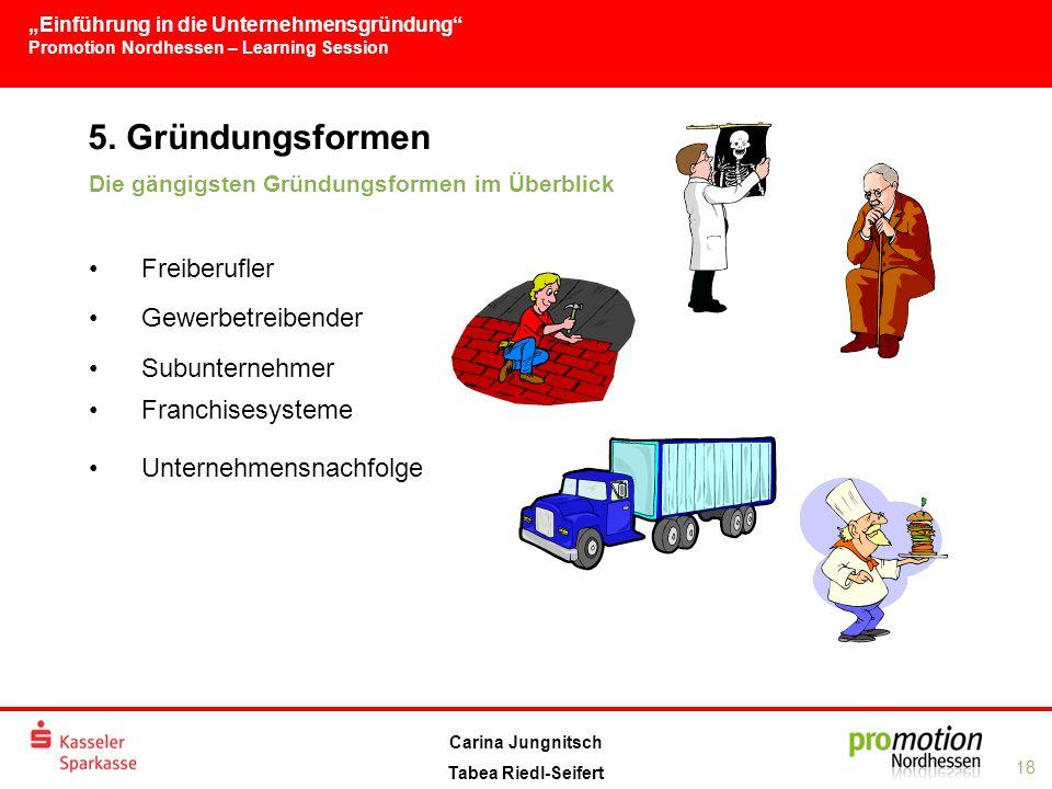 """""""Einführung in die Unternehmensgründung Promotion Nordhessen – Learning Session 18 Carina Jungnitsch Tabea Riedl-Seifert 5."""