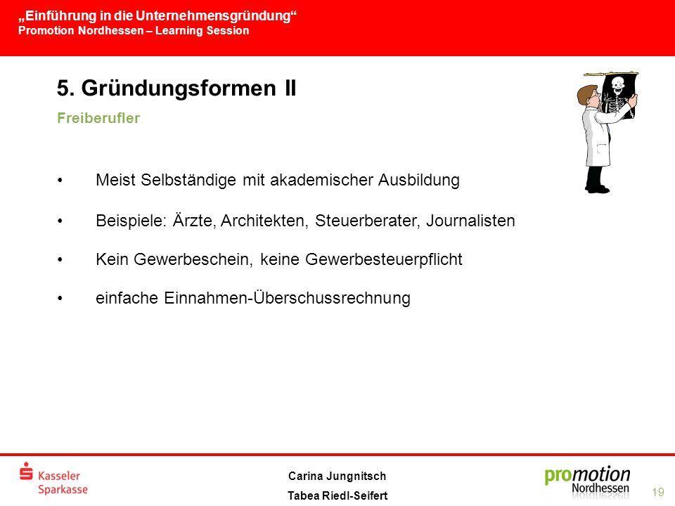 """""""Einführung in die Unternehmensgründung Promotion Nordhessen – Learning Session 19 Carina Jungnitsch Tabea Riedl-Seifert 5."""