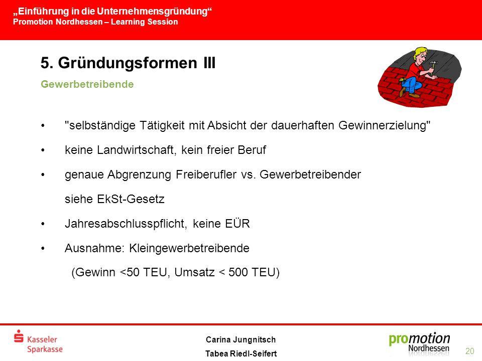 """""""Einführung in die Unternehmensgründung Promotion Nordhessen – Learning Session 20 Carina Jungnitsch Tabea Riedl-Seifert 5."""