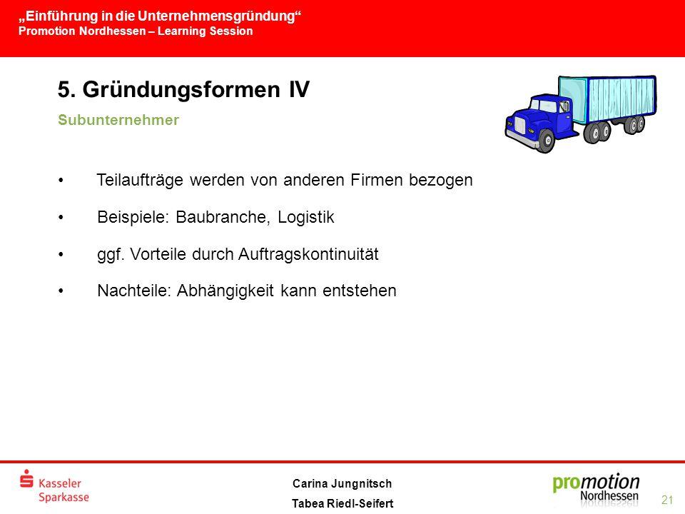 """""""Einführung in die Unternehmensgründung Promotion Nordhessen – Learning Session 21 Carina Jungnitsch Tabea Riedl-Seifert 5."""