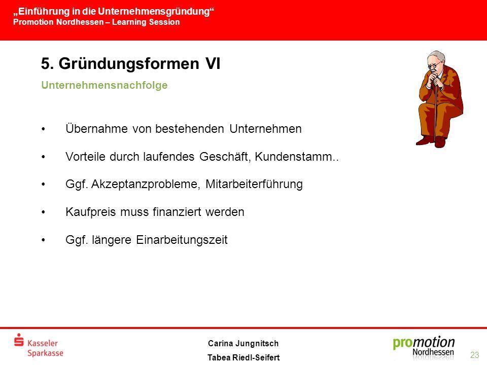 """""""Einführung in die Unternehmensgründung Promotion Nordhessen – Learning Session 23 Carina Jungnitsch Tabea Riedl-Seifert 5."""