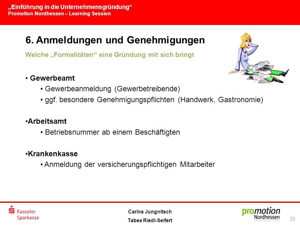 """""""Einführung in die Unternehmensgründung Promotion Nordhessen – Learning Session 25 Carina Jungnitsch Tabea Riedl-Seifert 6."""