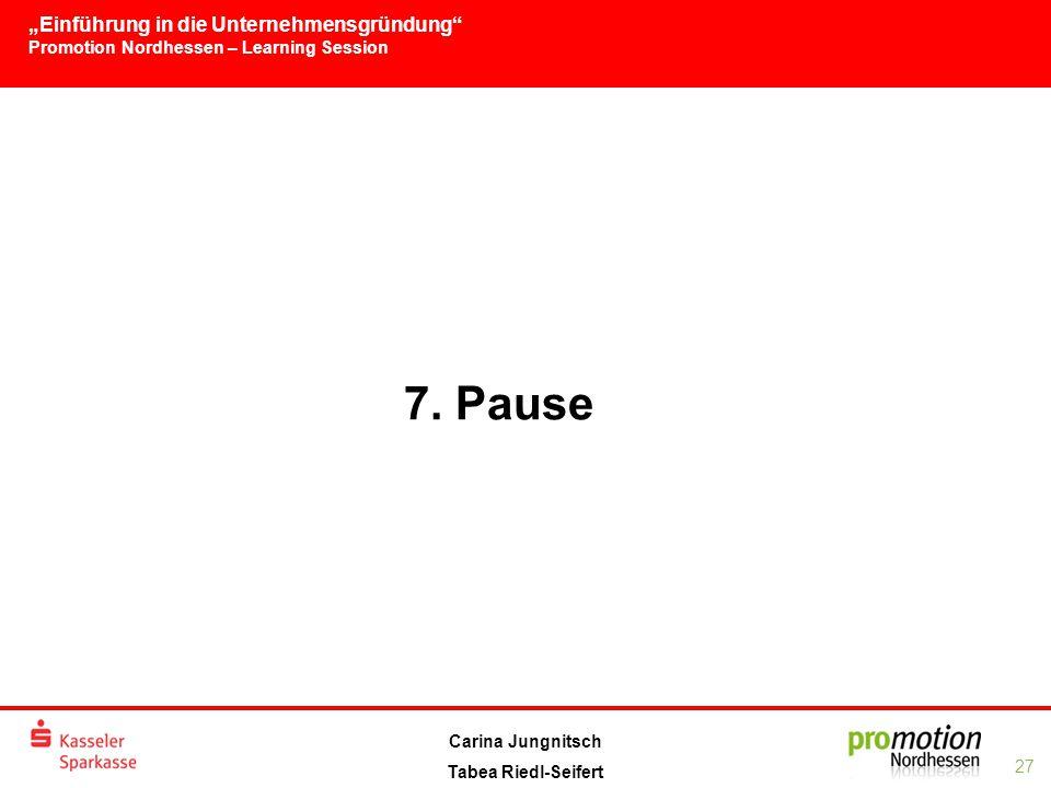 """""""Einführung in die Unternehmensgründung Promotion Nordhessen – Learning Session 27 Carina Jungnitsch Tabea Riedl-Seifert 7."""