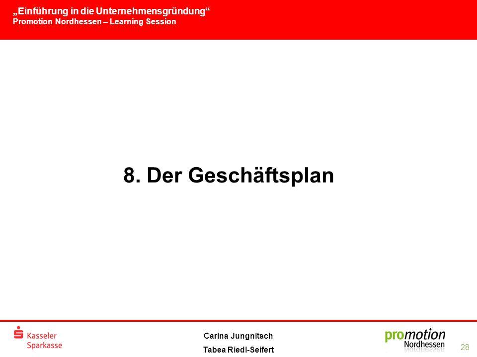 """""""Einführung in die Unternehmensgründung Promotion Nordhessen – Learning Session 28 Carina Jungnitsch Tabea Riedl-Seifert 8."""