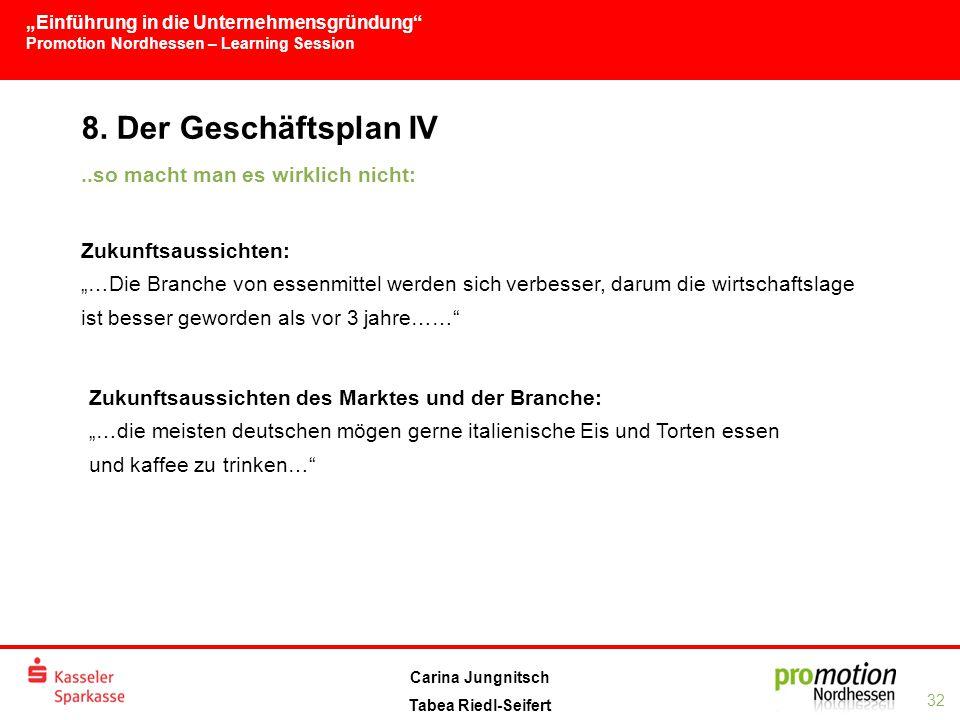 """""""Einführung in die Unternehmensgründung Promotion Nordhessen – Learning Session 32 Carina Jungnitsch Tabea Riedl-Seifert 8."""