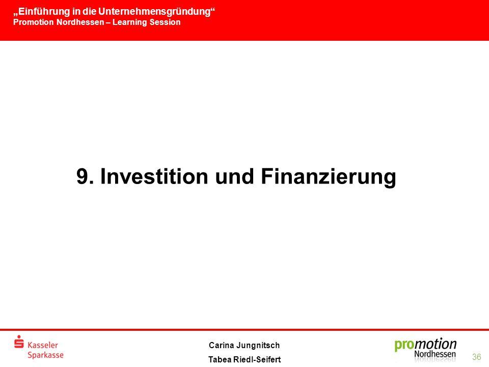 """""""Einführung in die Unternehmensgründung Promotion Nordhessen – Learning Session 36 Carina Jungnitsch Tabea Riedl-Seifert 9."""