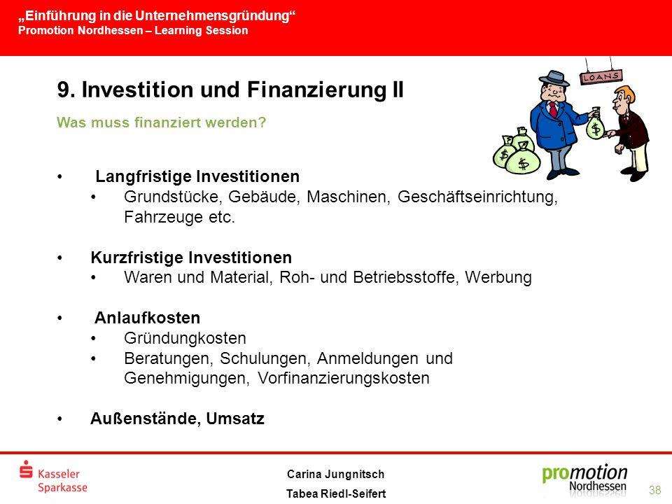 """""""Einführung in die Unternehmensgründung Promotion Nordhessen – Learning Session 38 Carina Jungnitsch Tabea Riedl-Seifert 9."""