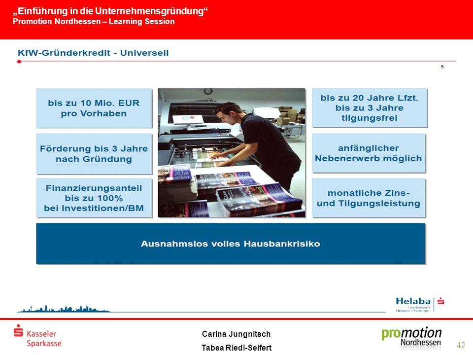 """""""Einführung in die Unternehmensgründung Promotion Nordhessen – Learning Session 42 Carina Jungnitsch Tabea Riedl-Seifert"""