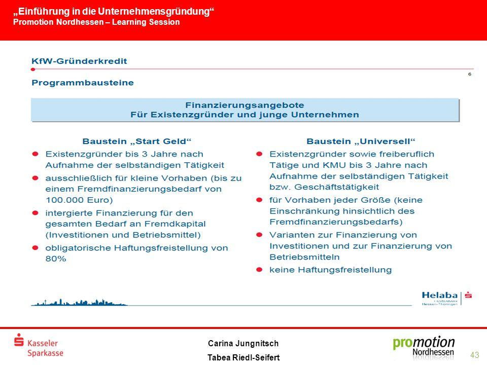 """""""Einführung in die Unternehmensgründung Promotion Nordhessen – Learning Session 43 Carina Jungnitsch Tabea Riedl-Seifert"""