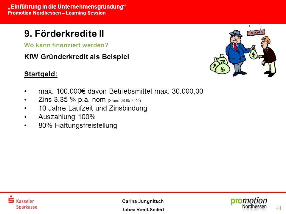 """""""Einführung in die Unternehmensgründung Promotion Nordhessen – Learning Session 44 Carina Jungnitsch Tabea Riedl-Seifert 9."""
