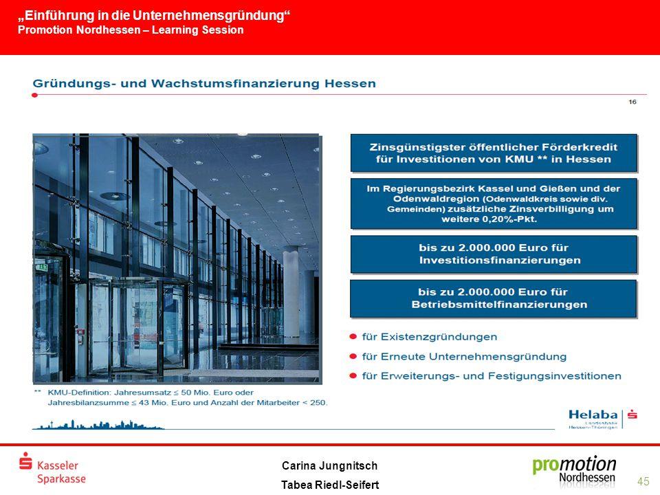 """""""Einführung in die Unternehmensgründung Promotion Nordhessen – Learning Session 45 Carina Jungnitsch Tabea Riedl-Seifert"""