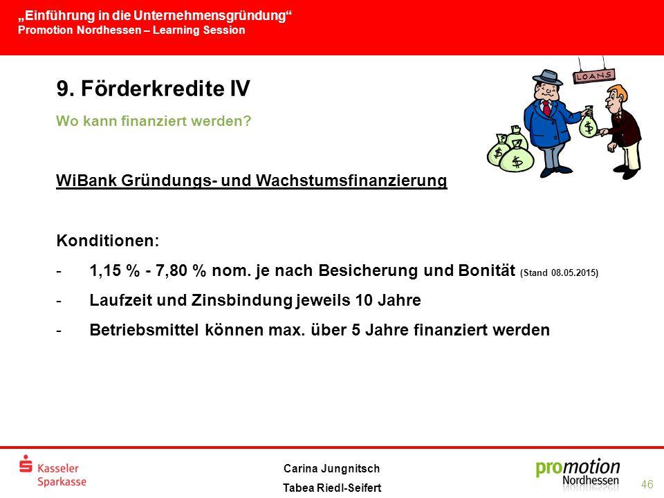"""""""Einführung in die Unternehmensgründung Promotion Nordhessen – Learning Session 46 Carina Jungnitsch Tabea Riedl-Seifert 9."""