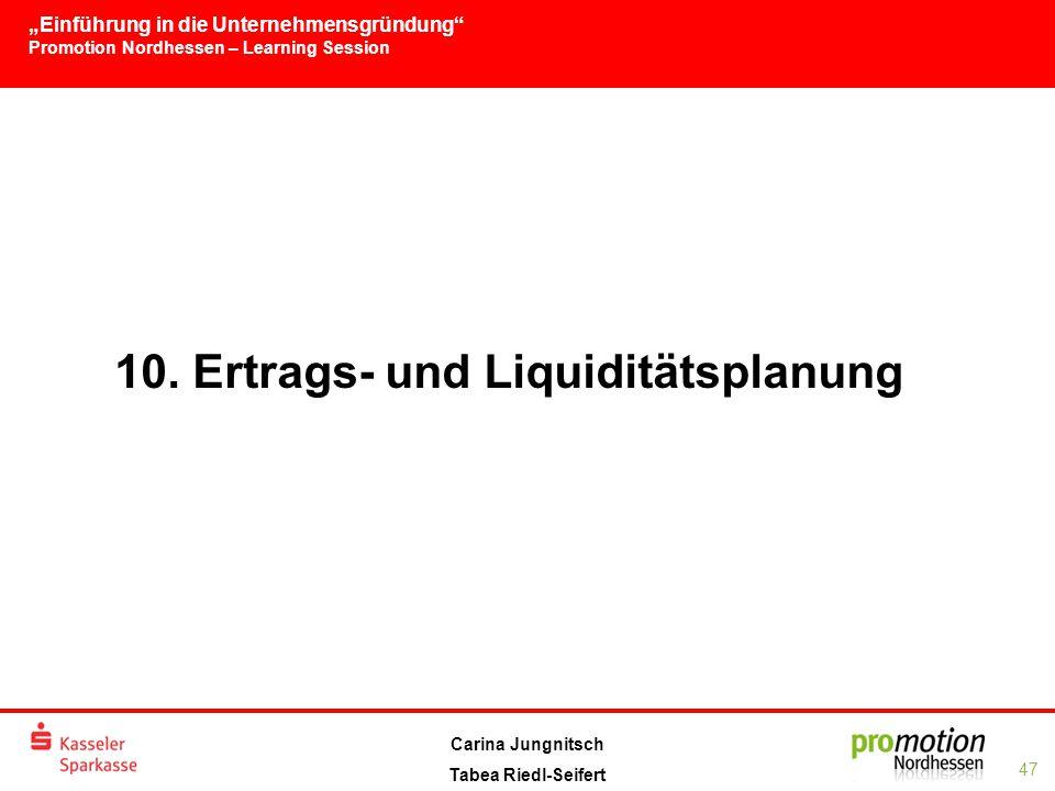 """""""Einführung in die Unternehmensgründung Promotion Nordhessen – Learning Session 47 Carina Jungnitsch Tabea Riedl-Seifert 10."""