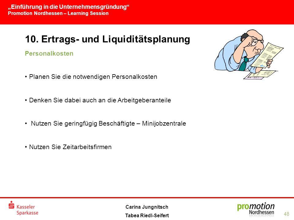 """""""Einführung in die Unternehmensgründung Promotion Nordhessen – Learning Session 48 Carina Jungnitsch Tabea Riedl-Seifert 10."""
