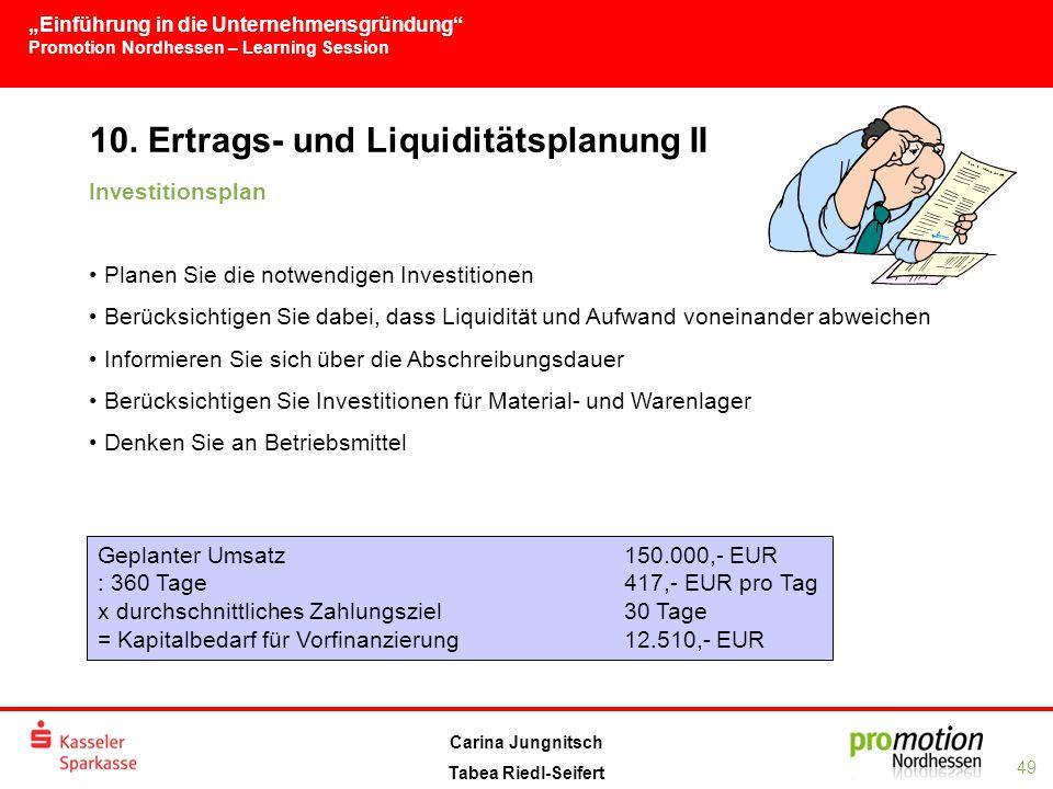 """""""Einführung in die Unternehmensgründung Promotion Nordhessen – Learning Session 49 Carina Jungnitsch Tabea Riedl-Seifert 10."""