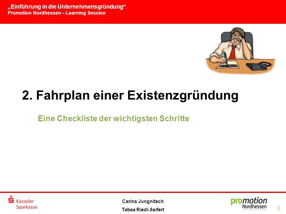 """""""Einführung in die Unternehmensgründung Promotion Nordhessen – Learning Session 5 Carina Jungnitsch Tabea Riedl-Seifert 2."""