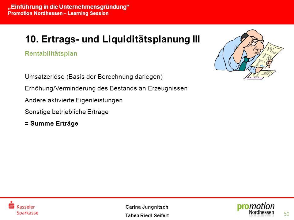 """""""Einführung in die Unternehmensgründung Promotion Nordhessen – Learning Session 50 Carina Jungnitsch Tabea Riedl-Seifert 10."""