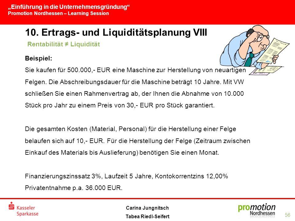 """""""Einführung in die Unternehmensgründung Promotion Nordhessen – Learning Session 56 Carina Jungnitsch Tabea Riedl-Seifert 10."""
