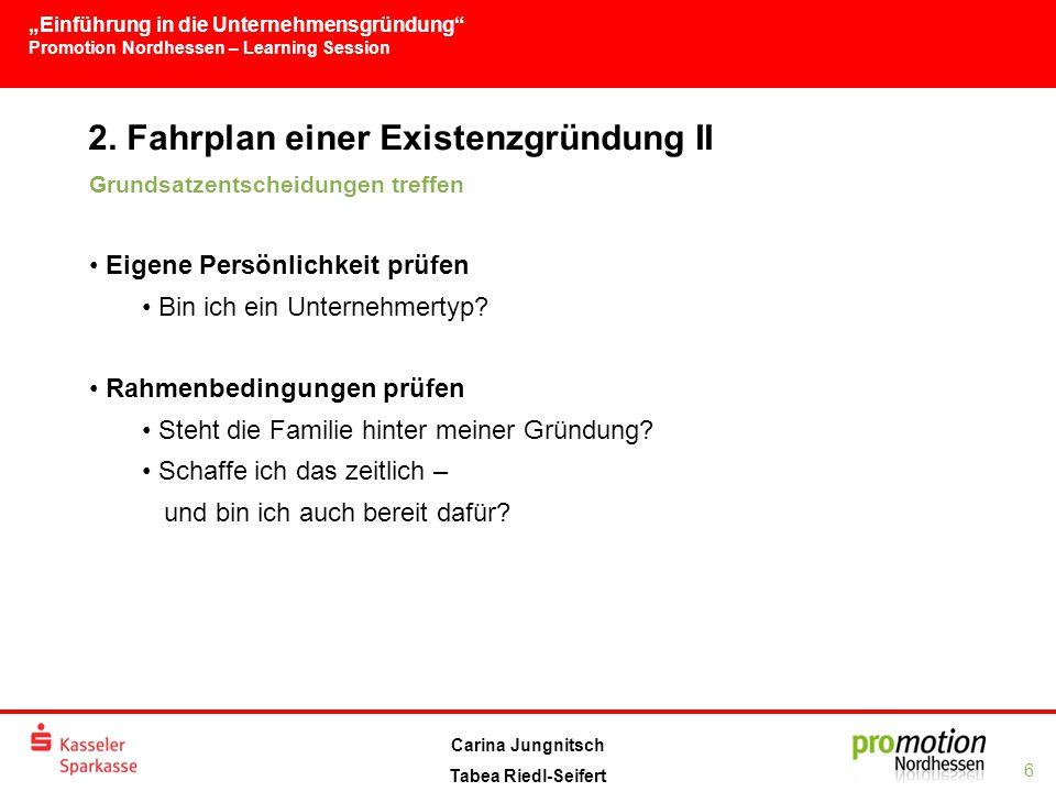 """""""Einführung in die Unternehmensgründung Promotion Nordhessen – Learning Session 6 Carina Jungnitsch Tabea Riedl-Seifert 2."""