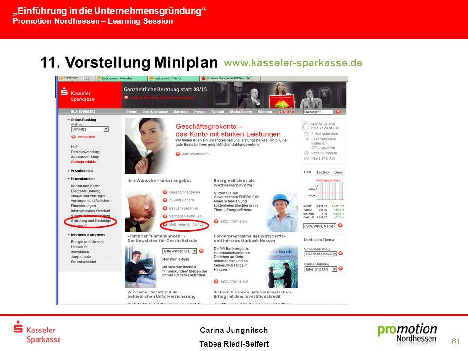 """""""Einführung in die Unternehmensgründung Promotion Nordhessen – Learning Session 61 Carina Jungnitsch Tabea Riedl-Seifert 11."""