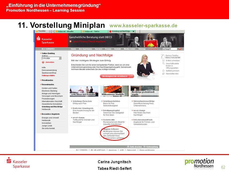 """""""Einführung in die Unternehmensgründung Promotion Nordhessen – Learning Session 62 Carina Jungnitsch Tabea Riedl-Seifert 11."""