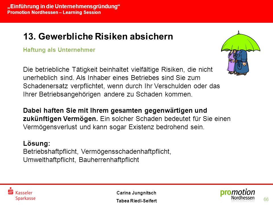 """""""Einführung in die Unternehmensgründung Promotion Nordhessen – Learning Session 66 Carina Jungnitsch Tabea Riedl-Seifert 13."""