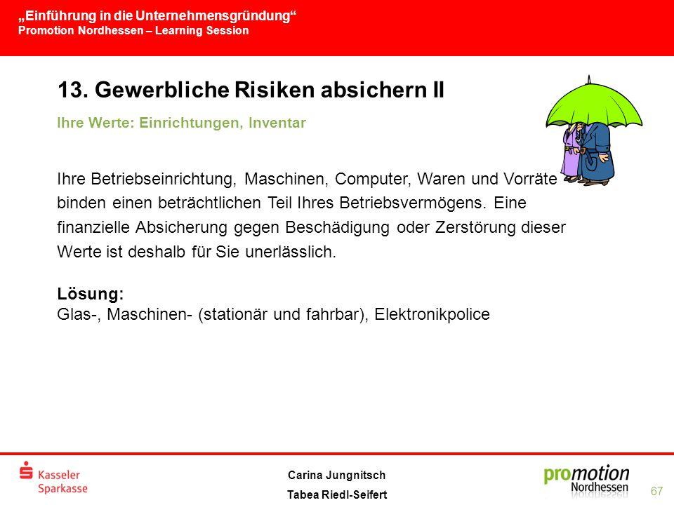 """""""Einführung in die Unternehmensgründung Promotion Nordhessen – Learning Session 67 Carina Jungnitsch Tabea Riedl-Seifert 13."""
