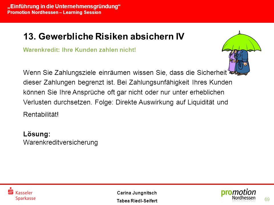 """""""Einführung in die Unternehmensgründung Promotion Nordhessen – Learning Session 69 Carina Jungnitsch Tabea Riedl-Seifert 13."""