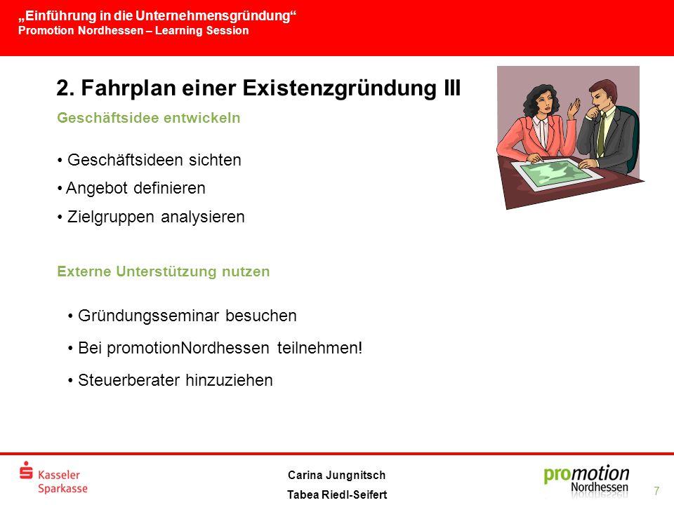 """""""Einführung in die Unternehmensgründung Promotion Nordhessen – Learning Session 7 Carina Jungnitsch Tabea Riedl-Seifert 2."""