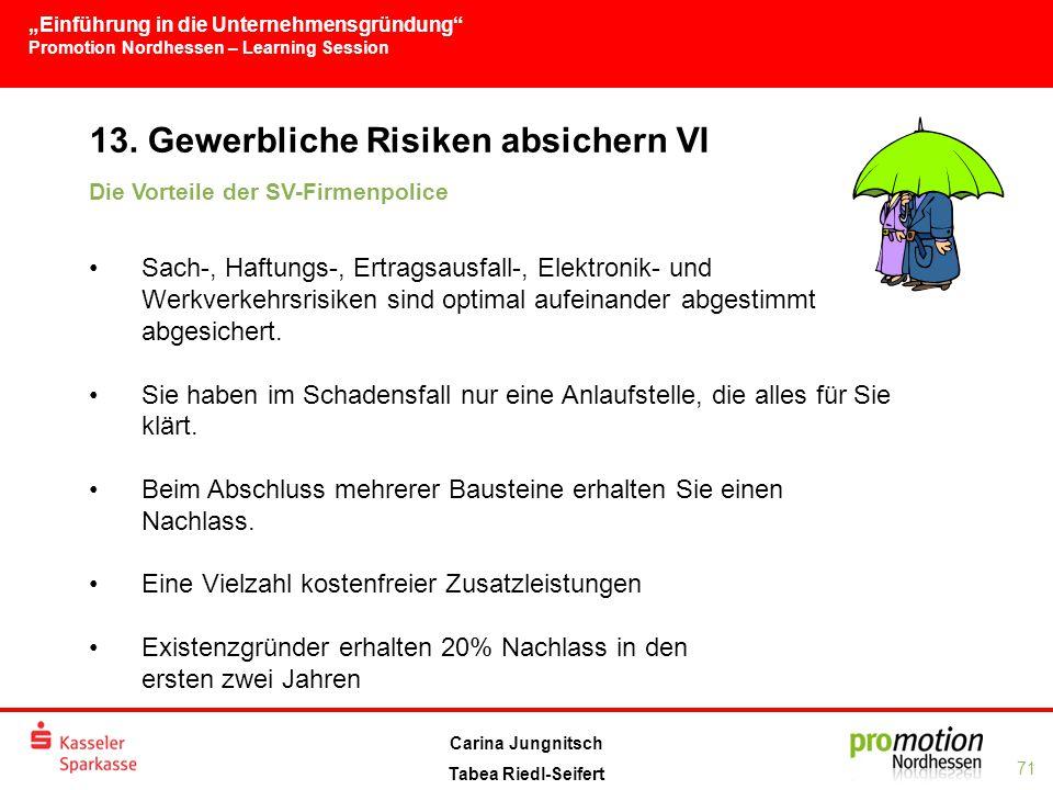 """""""Einführung in die Unternehmensgründung Promotion Nordhessen – Learning Session 71 Carina Jungnitsch Tabea Riedl-Seifert 13."""