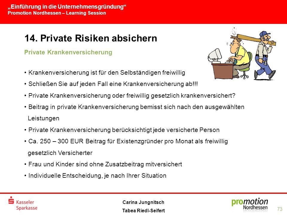 """""""Einführung in die Unternehmensgründung Promotion Nordhessen – Learning Session 73 Carina Jungnitsch Tabea Riedl-Seifert 14."""
