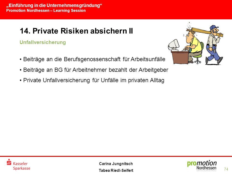 """""""Einführung in die Unternehmensgründung Promotion Nordhessen – Learning Session 74 Carina Jungnitsch Tabea Riedl-Seifert 14."""