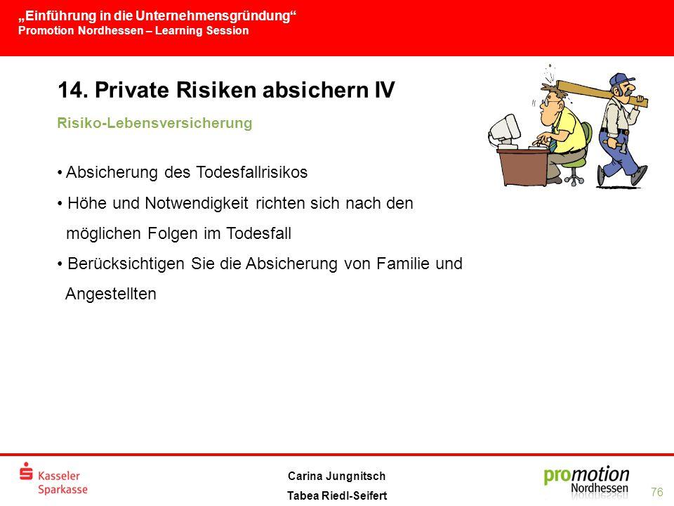 """""""Einführung in die Unternehmensgründung Promotion Nordhessen – Learning Session 76 Carina Jungnitsch Tabea Riedl-Seifert 14."""