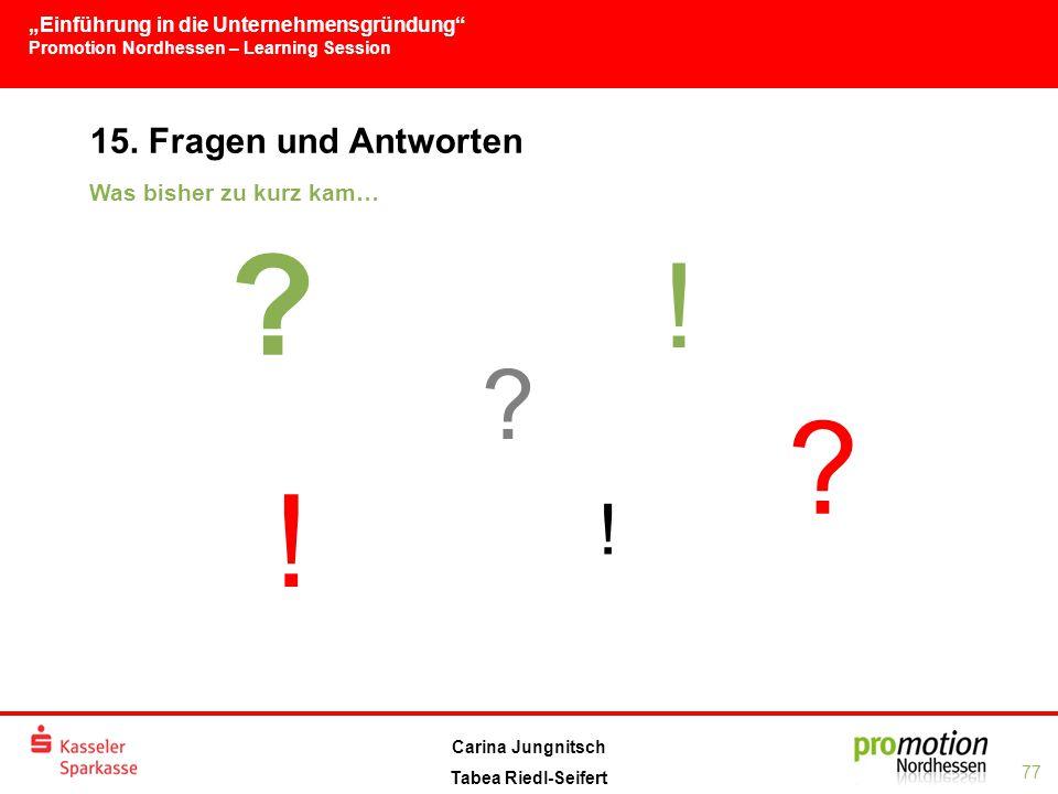 """""""Einführung in die Unternehmensgründung Promotion Nordhessen – Learning Session 77 Carina Jungnitsch Tabea Riedl-Seifert 15."""