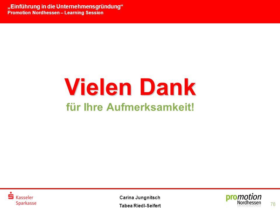"""""""Einführung in die Unternehmensgründung Promotion Nordhessen – Learning Session 78 Carina Jungnitsch Tabea Riedl-Seifert Vielen Dank Vielen Dank für Ihre Aufmerksamkeit!"""