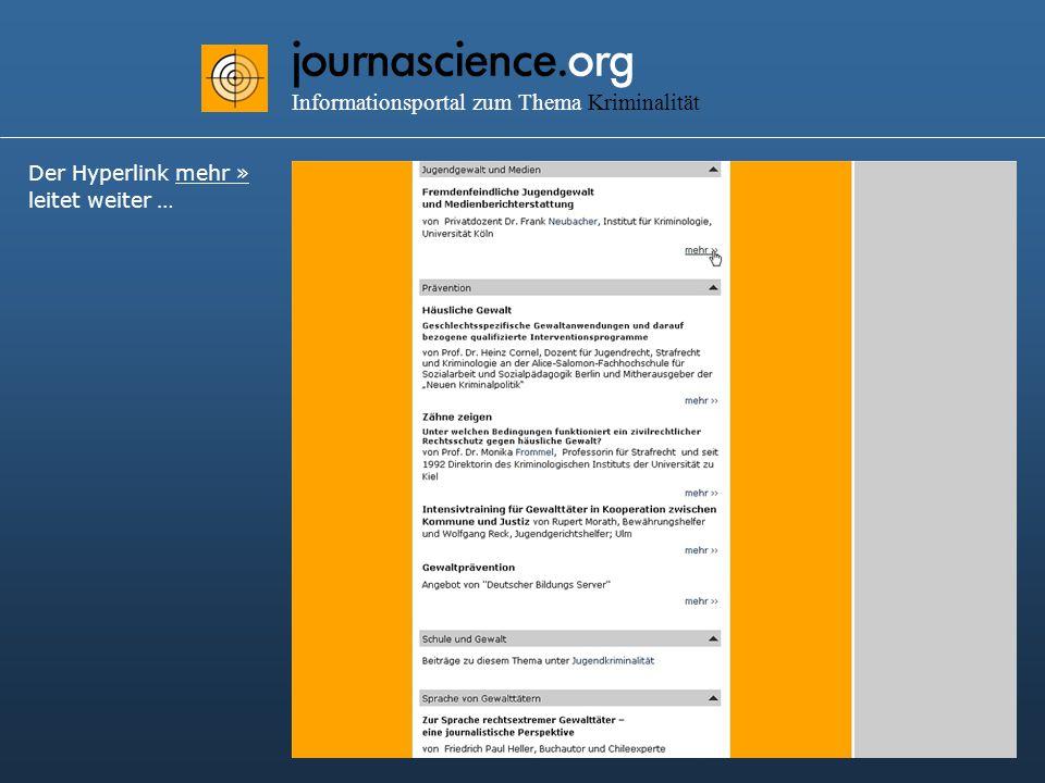 journascience.org Informationsportal zum Thema Kriminalität Der Hyperlink mehr » leitet weiter …