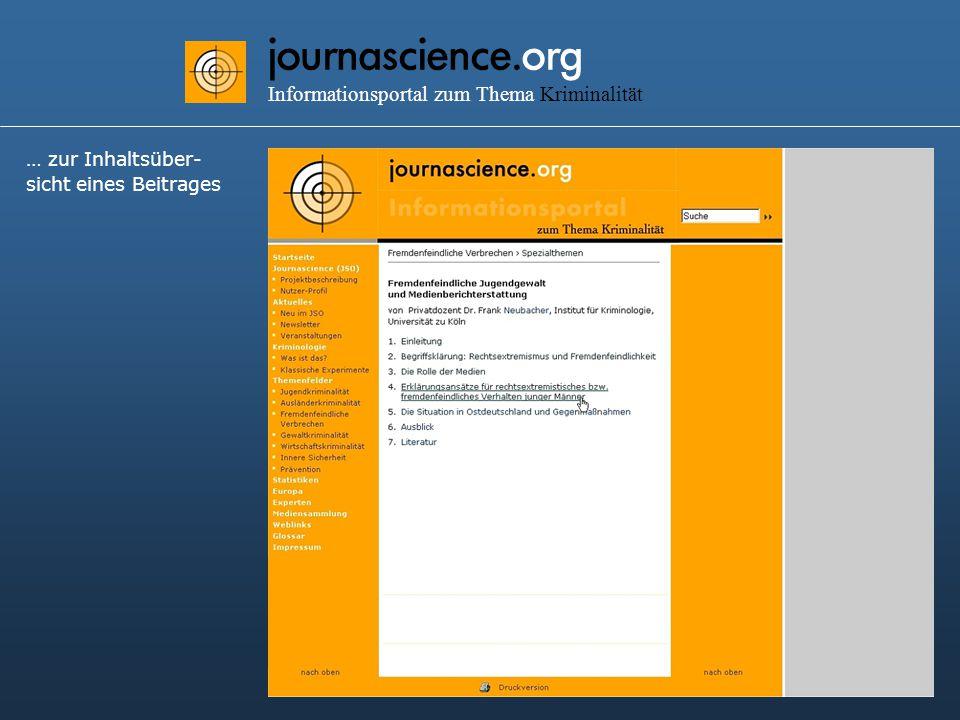 journascience.org Informationsportal zum Thema Kriminalität … zur Inhaltsüber- sicht eines Beitrages