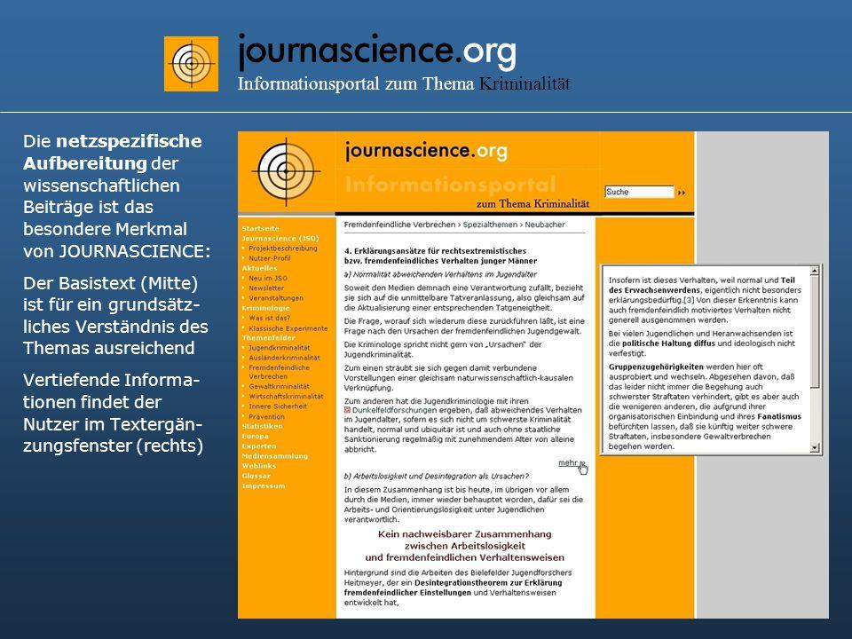 journascience.org Informationsportal zum Thema Kriminalität Die netzspezifische Aufbereitung der wissenschaftlichen Beiträge ist das besondere Merkmal von JOURNASCIENCE: Der Basistext (Mitte) ist für ein grundsätz- liches Verständnis des Themas ausreichend Vertiefende Informa- tionen findet der Nutzer im Textergän- zungsfenster (rechts)