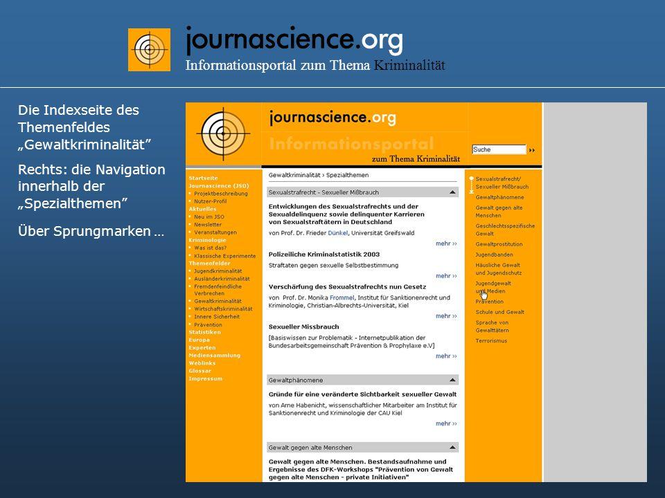 """journascience.org Informationsportal zum Thema Kriminalität Die Indexseite des Themenfeldes """"Gewaltkriminalität Rechts: die Navigation innerhalb der """"Spezialthemen Über Sprungmarken …"""