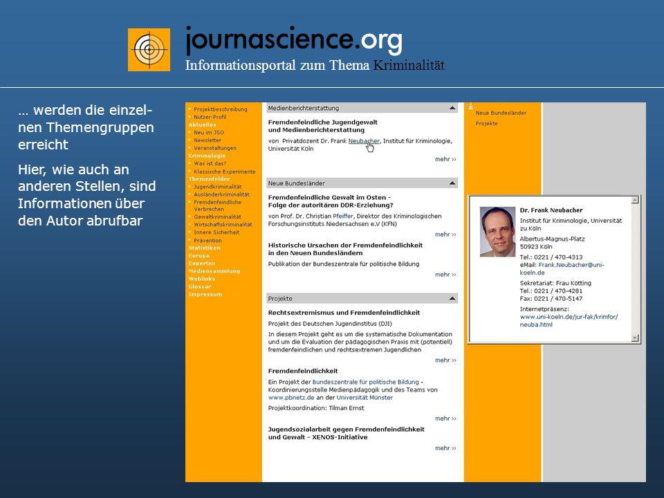 journascience.org Informationsportal zum Thema Kriminalität … werden die einzel- nen Themengruppen erreicht Hier, wie auch an anderen Stellen, sind Informationen über den Autor abrufbar